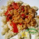 Вкусные макароны с соусом из фарша с овощами