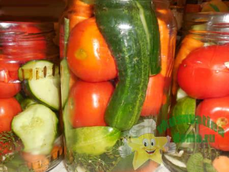 Как сделать ассорти из огурцов и помидоров на зиму